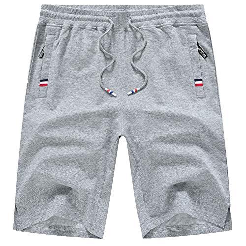 YuKaiChen Men's Cotton Shorts Casual Elastic Waist Drawstring Gym Workout Short Zipper Pockets Lightgrey 34