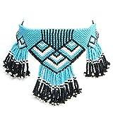 Viva Handmade Blue,Black Seed Beads Beaded Choker Necklace Earrings S-17-SB-2
