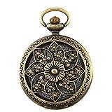 Jewelrywe Orologio da Tasca a Quarzo Quadrante Numero con Collana in Lega Disegno Fiore Colore Scelta
