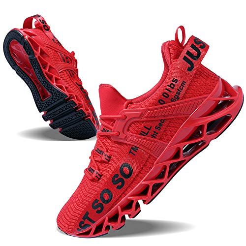 JSLEAP Tennis Shoes for Men Comfortable Casual Lightweight Fashion Gym Running Walking Training Sneakers (Red, 7)
