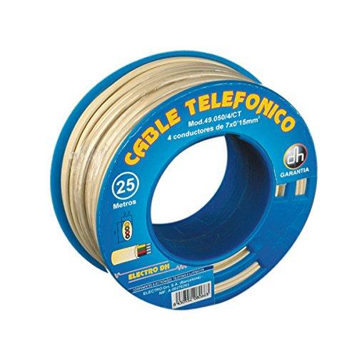 Cable telefónico manguera plana 4 vías 100 m Electro Dh 49.050/4/CR 8430552094882