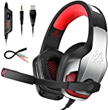 Bovon Cascos Gaming para PS4 Xbox One, Cascos con Microfono Cancelacion de Ruido, Diadema Ajustable, Controladores de 50mm y Luz LED, Auriculares Gaming Stereo para Nintendo Switch/PC/Tableta/Mac