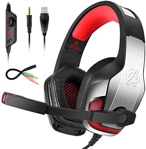 Bovon Für PS4 Headset, 50mm Treiber Gaming Headset PC mit Noise Canceling Mikrofon & Verstellbares Stirnband, Over Ear Kopfhörer für Xbox One Laptop Mac Handy Tablet Switch