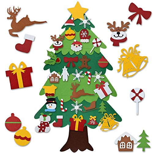 SENOSUR Felt Christmas Tree Set DIY 3.2FT with 30 Ornaments Xmas Decoration Home Wall Hanging Children's Felt Craft Kits Party Supplies Gifts for Kids Toddlers