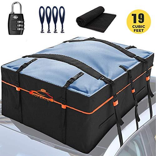 AUPERTO Dachbox, 538L Auto Dachkoffer Faltbare Gepäckbox mit Anti-Rutsch Matte + 4 Türhaken + Sperren, Wasserdicht Schwerlast 600D Dachboxen Dachgepäckträger Tasche für Reisen und Gepäcktransport