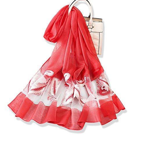 YFZYT Damen Mode Organza weichen Schal Schal Hals Wrap Kopftuch Stola, Anti-UV Feder Stickerei Muster Chiffon Seidenschal Schal - Heißes Rot