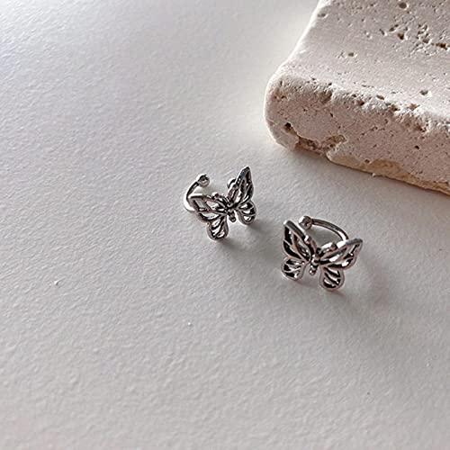 Clips de Oreja de Mariposa Huecos de Metal Vintage a la Moda para Mujeres niñas Lindas sin Piercing...