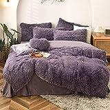 MorroMorn Zotteliges Bettbezug-Set – Langes Kunstfell, luxuriös, ultraweich (Dunkelviolett, Full/Queen)