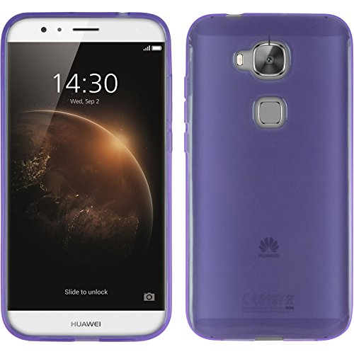 PhoneNatic Case kompatibel mit Huawei G8 - lila Silikon Hülle transparent + 2 Schutzfolien
