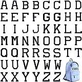 52 Parches de Letras Aplicados con Plancha, Parches Apliques de Alfabeto o Apliques de Coser con Bordado A-Z Decorar Reparar Insignia Parches para Garros, Camisas, Zapatos, Jeans, Bolsos (Negro)