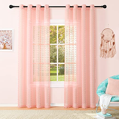 Baby Pink Nursery Girls Room Sheer Curtains, Grommet Top TransparenVoile Drapes Semi Sheer Panels for Bedroom Living Room Wedding Party,52 x 84 Inch Length, 2 Pieces
