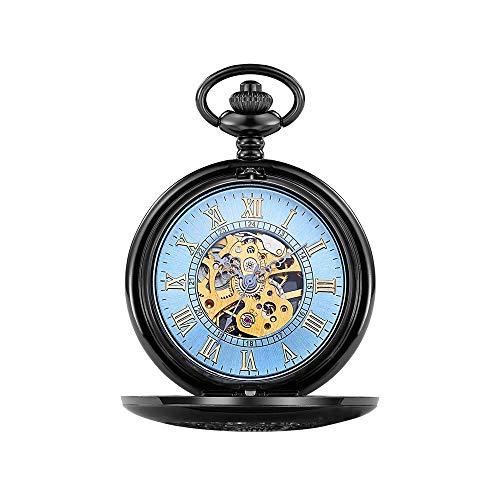 LITINGT Reloj de Bolsillo Reloj de Bolsillo Vintage con Cadena Reloj de Bolsillo mecánico con Solapa clásico Reloj de Bolsillo Hueco Tallado Romano (Color: Azul, Tamaño: Talla única)