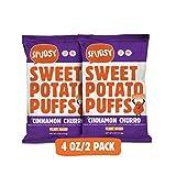 Sweet Potato Puffs by Spudsy | Gluten-free & Vegan | Allergen-free, Non-GMO, Superfood Snack (Crunchy Cinnamon Churro, 2 PACK)