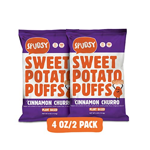 Spudsy Sweet Potato Puffs | Vegan, Gluten Free Snacks | Plant-Based, Allergen-free, Non-GMO, Kosher, Superfood Snack | Cinnamon Churro (2 Pack, 4 oz Bags)