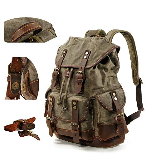 BYEON Mens Waxed Canvas Rucksack Leder Rucksack für Männer Wax Leather Rucksäcke Travel Vintage Bookbag mit Laptopfach Rustikal Large Waterproof Army Green