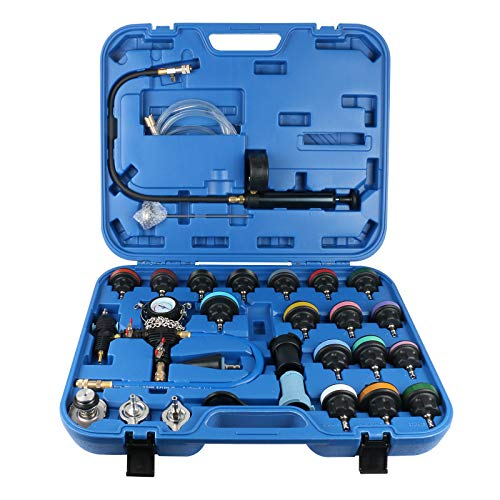 GOGOLO 28PCS Kühlsystem Tester Kit Abdrückgerät Auto KFZ mit Adapter, Universal Kühler Drucktester Druckprüfung Werkzeug Nachfüllung Set mit Tragetasche