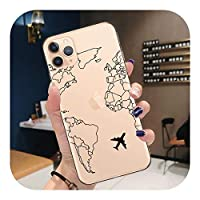 CaTinx World Map Travel Just Go Soft TPU Phone case for iPhone 11 Pro XS Max X XR 7 8 Plus 6S plane Cover for iPhone 12 Pro Max Coque-T9355-for iPhone XS Max
