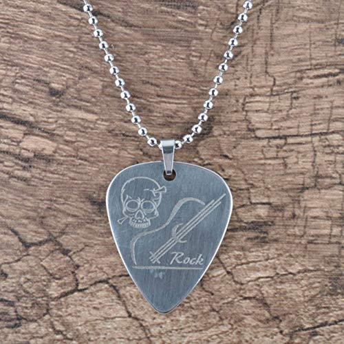 Sensitiveliu Púas de bajo de Guitarra eléctrica de Metal de Acero Inoxidable con Collar Piezas y Accesorios de Guitarra en Forma de corazón