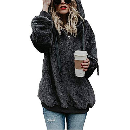 Alwayswin Damen Kapuzen Sweatshirt Frauen Teddy-Fleece Kapuzenpullover Fleece Pullover Mantel Winter Warme Wolle Reißverschluss Taschen Baumwollmantel Outwear
