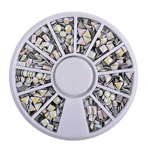 KEERADS 3D Strass à Ongles Art Décorations Acrylique Diamant Bijoux Accessoire Gemme Nail Glitter Carrousel Argente Strass boites Cristal Ongle Manucure (A)