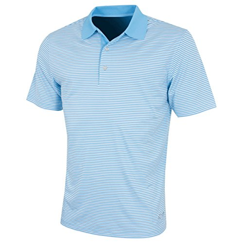 Greg Norman Mens Bar Stripe Golf-Polo-Hemd - Caribbean Blau - L