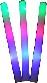 30pcs 19inch Light Up Multi Color LED Foam Glow Stick, Rally Rave Cheer Batons, Party Flashing Light DJ Wands, Giveaways, Concert Wedding Club Favors