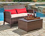 SUNCROWN Outdoor Furniture 2-Piece Patio Wicker Love-seat with Coffee Table Set, All-Weather Cushions and Built-in Storage Bin