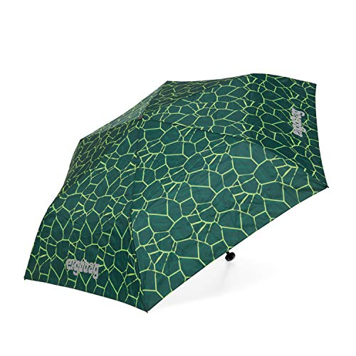 ergobag Regenschirm - Schultaschenschirm für Kinder, extra leicht mit Tasche, Ø90cm - BärRex - Grün