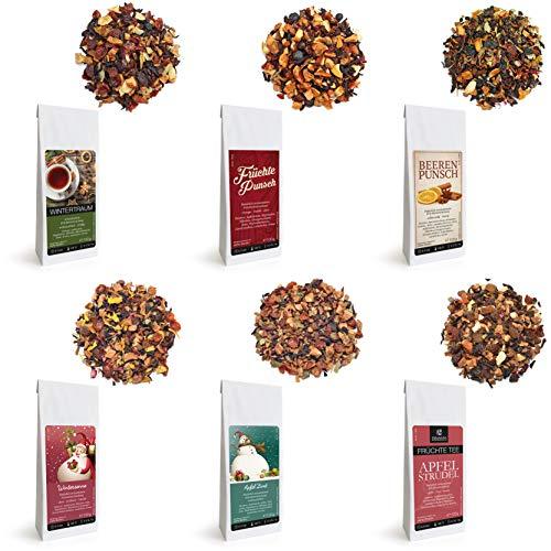 Rinama Winter Tea Infusion Geschenkset mit 6 Packungen x 100 g verschiedener Winteraromen - loser Tee - Schöne Geschenkbox für Teeliebhaber, Weihnachtsgeschenk - Österreichischer Standard