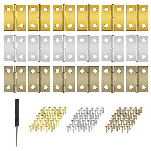 OPPRES 60 stück 3 Farben Mini Scharniere Set gelb silber kupfer mit Ersatzschrauben fü Kleine Edelstahl Scharniere für Wohnmöbel Mini-Schubladenschrank Holzkiste Schmuck-Box Kabinett DIY Zubehör