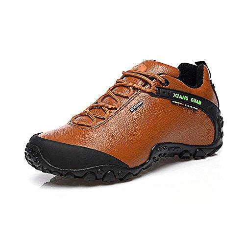 Xiang Guan Femme Low-top Lace-up Cuir Imperméable Outdoor Sport Chaussures de Camping Randonnée Trail Trekking Sneaker (39 EU, Marron)
