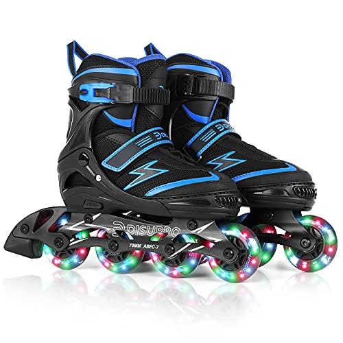 DISUPPO Inline Skates, Verstellbare Größe Rollschuhe Inliner für Kinder/Erwachsen/Anfänger/Mädchen/Jungen/Jugendliche, Mit Leucht PU Räder mit ABEC-7 Lager