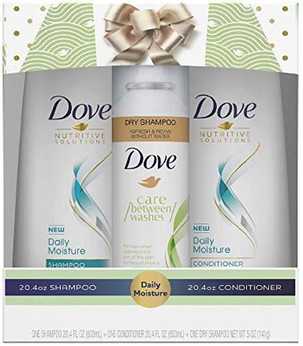 Dove Nutritive Solutions Gift Set - Daily Moisture Shampoo & Conditioner (20.4 FL OZ Each) + Dry Shampoo (5 OZ) - One (1) Gift Set