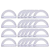 24 Pack Math Protractor Semicircle Plastic Protractors 180 Degrees for Angle Measurement R...