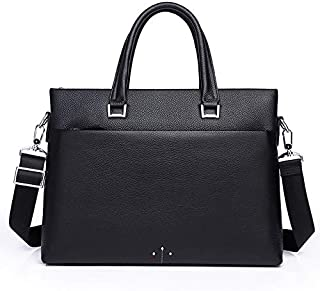 Leather Men's Business Casual Briefcase Cross-Section Portable Shoulder Diagonal Header Layer of Leather Men's Laptop Bag (Color : Black)