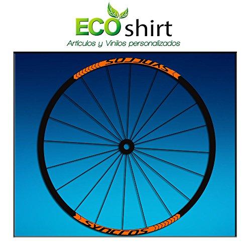 Ecoshirt Q3-PT59-2NJ1 Pegatinas Stickers Llanta Syncross 26' 27,5' Am47 MTB Downhill, Naranja 29'
