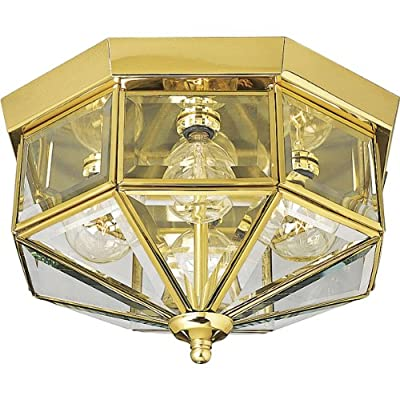 Progress Lighting P5789-Octagonal Close-To-Ceiling Fixture with Clear Bound Beveled Glass