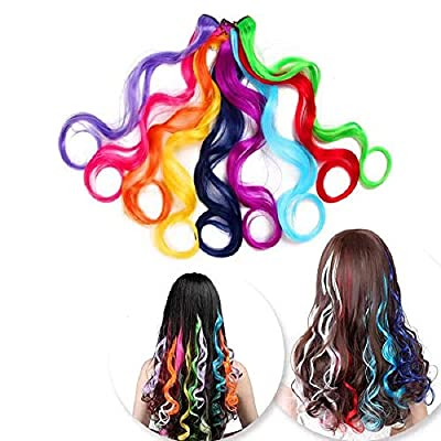 (1pack of 36 colors) Color clips in color hair extensions 22-inch color straight hair extensions for women and children multicolor party pattern striped synthetic wigs