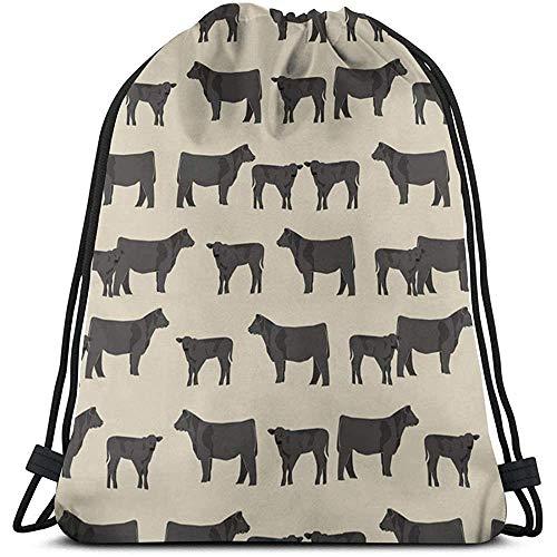 wallxxj Bolsas Cinch Angus Cattle Animal Impreso Mochila con Cordón Gymsack Cinch Bags Gimnasio Novedad Estudiantes Durable Casual Al Aire Libre