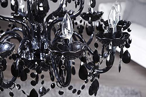 15-flammiger Design Kronleuchter BLACK CRYSTAL schwarz 15-armig Lüster Lampen Hängeleuchte Deckenlampe - 9