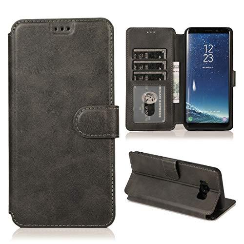 MOHAMED para Samsung Galaxy S8 Texture Textura MAGNÉTICA Hebilla MAGNÉTICA Funda de Cuero de la Tapa con Soporte y tragamonedas y Billetera y Marco de la Foto (Color : Black)