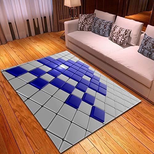 XXXKK Flanell Teppich,Kreativer 3D-Druck Weiß Blau Würfelteppich Anti-Rutsch-Teppich, Weicher Flanell Kinderzimmer Spiel Wohnzimmer Teppich, Heimkorridor Schlafzimmer Wohnzimmer Dekorativer Tepp