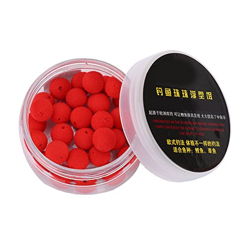 Pangdingk Appâts de pêche, Mousse 30Pcs / Lot Carpe 10 / 12mm Up Lell Flottant Laisse Flottante(12MM-Rouge)