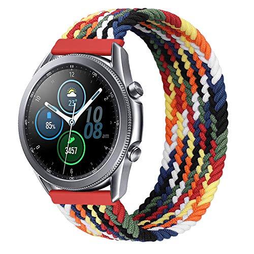 iBazal 20mm Galaxy Watch 3 41mm Armband kompatibel mit Samsung Galaxy Watch 42mm,Active 40mm 44mm Nylon Geflochtenes Solo Loop Band Ersatz für Huawei GT 2 42mm/GTR 42mm/GTS Uhrenarmband - Bunt(XS)