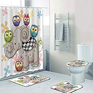 MOUMOUHOME Bohemian Cartoon Children's Bathroom Shower Curtain Sets Blue/Green/Purple/Brown Owls Cute Elephant Shower Curtain and Rugs White 4 Pieces
