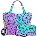 Lovevook Geometric Holographic Reflective Handbag Wallet Clutch Set