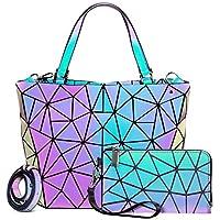 Lovevook Geometric Holographic Reflective Handbag Wallet Clutch Set