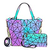 Geometric Luminous Purses and Handbags for Women Holographic Reflective Bag Wallet Clutch Set