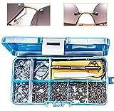 Gresunny 500pcs kit de reparación de anteojos reparación de gafas con tornillos y tuercas/mini destornillador/pinzas/almohadillas de nariz/ganchos para las orejas para gafas de sol reloj joyería