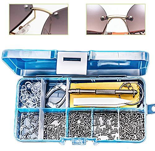 Gresunny 500 Stück Brillen Reparatur Set Brillenschrauben Edelstahl Brillenreparaturset Schraube und Muttern mit Nasenpads Silikon Pinzette Micro Schraubendreher für Brillen Sonnenbrille Uhren